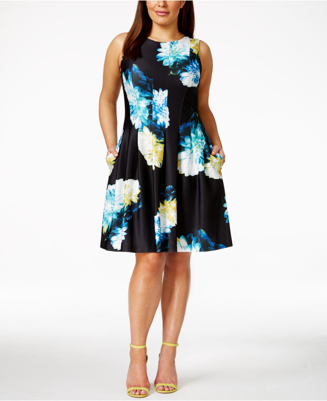 Lyst Calvin Klein Floral Fit And Flare Dress In Blue