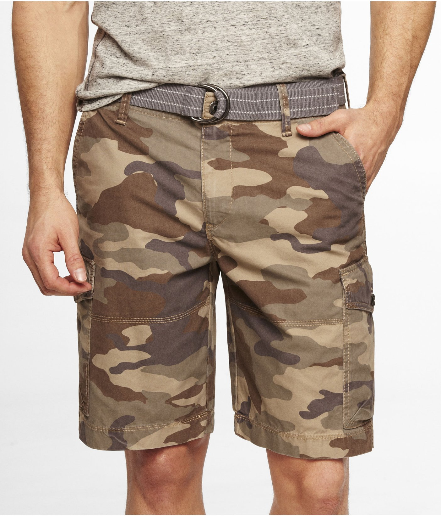 2744cfed31 Express 10 Inch Belted Camouflage Cargo Shorts in Natural for Men - Lyst