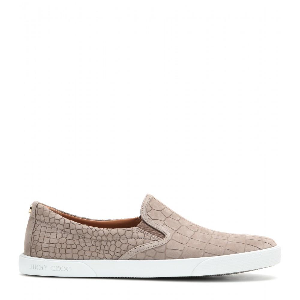 5bd731f7676 Jimmy Choo Demi Embossed Leather Slip-On Sneakers in Brown - Lyst