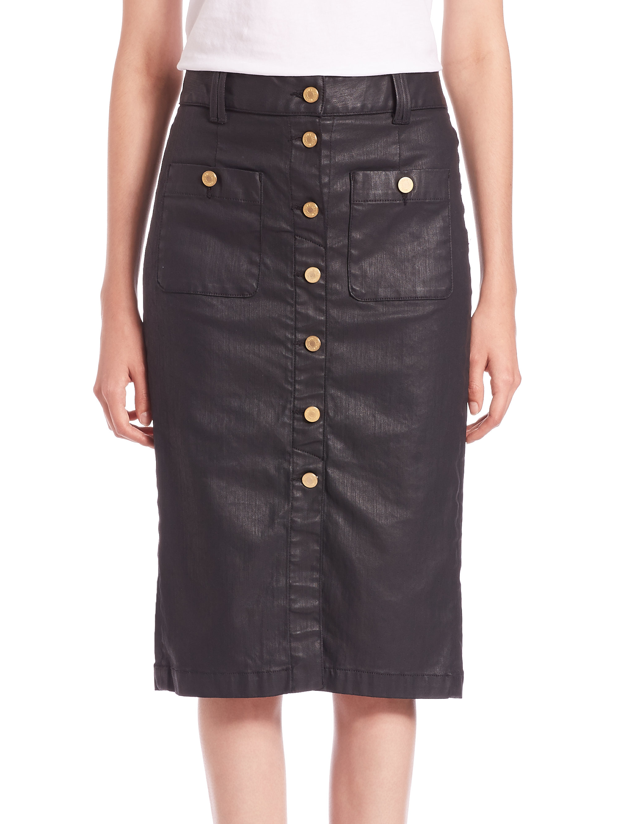 7 for all mankind Faux Leather Button-front Pencil Skirt in Black ...