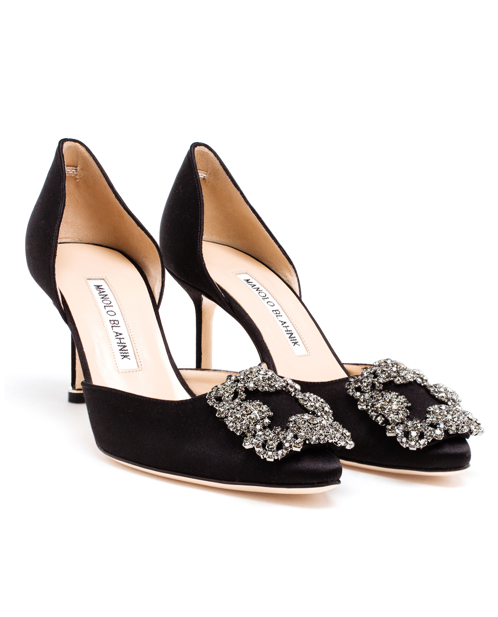 Lyst manolo blahnik hangisi embellished satin mid pumps for Who is manolo blahnik
