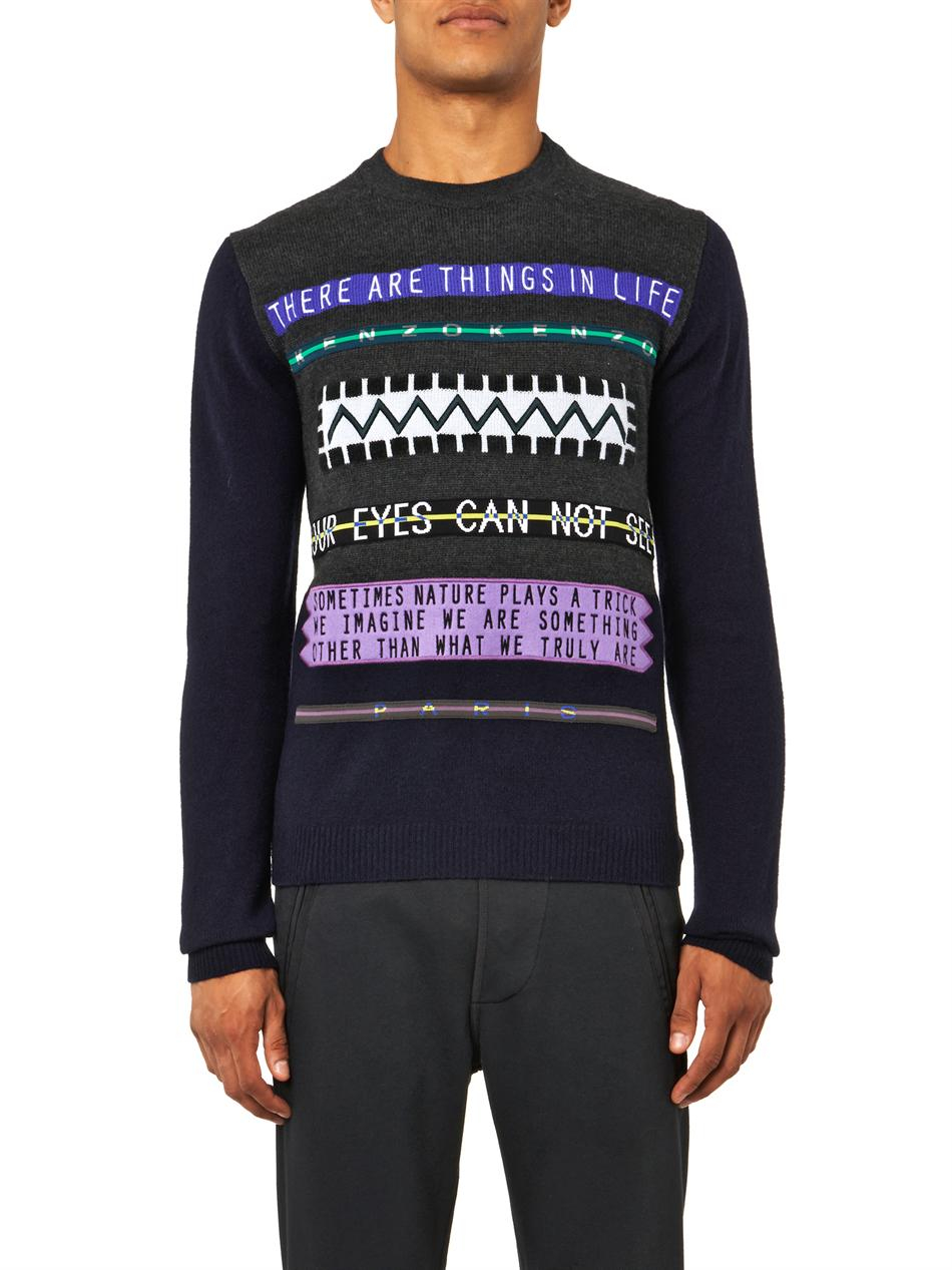 Kenzo words embroidered sweater in blue for men lyst