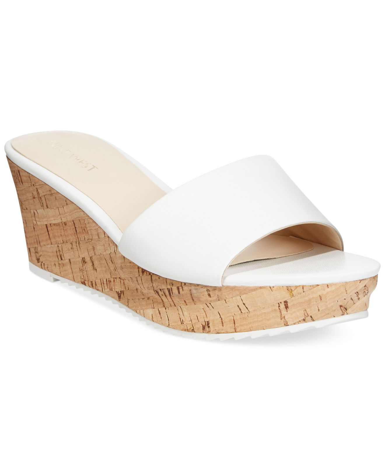 Nine west Confetty Platform Slide Sandals in White | Lyst