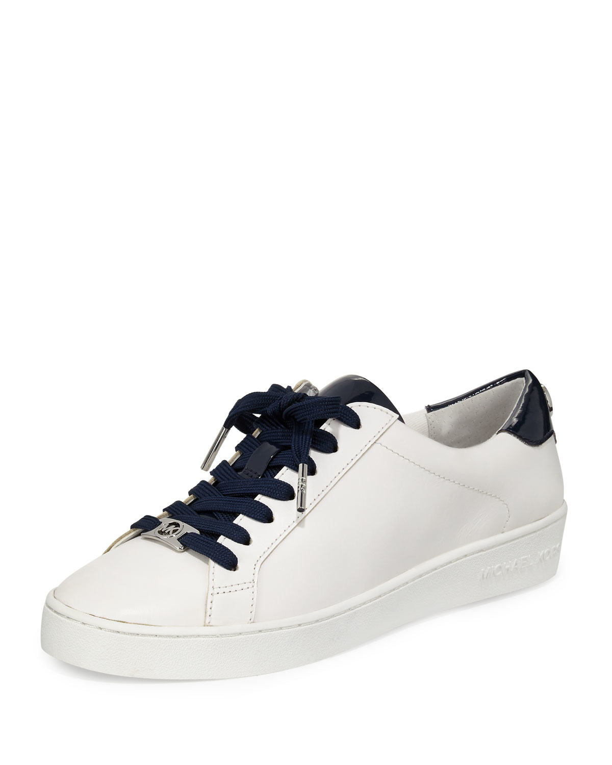 michael michael kors irving leather lace up sneaker in blue lyst. Black Bedroom Furniture Sets. Home Design Ideas