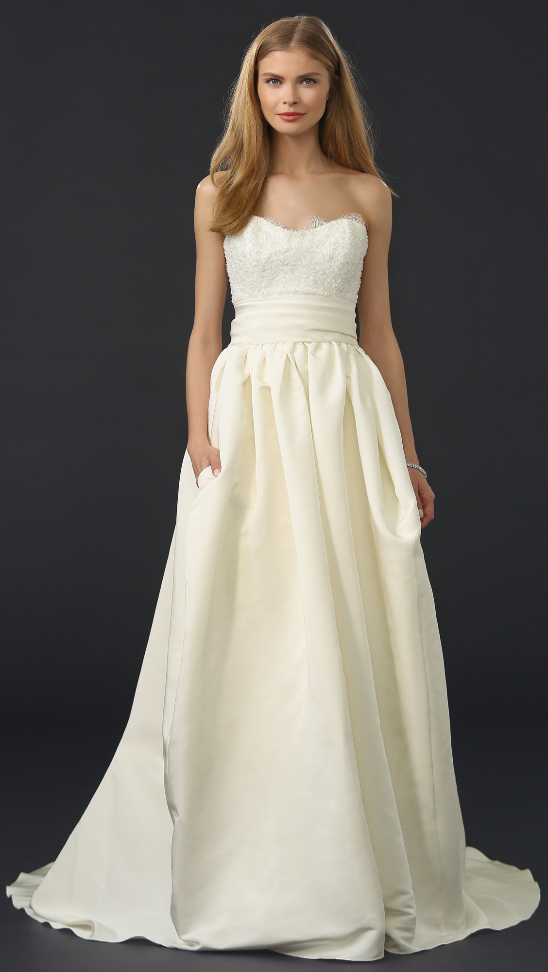 Marchesa Silk Faille Ballgown Skirt in White - Lyst