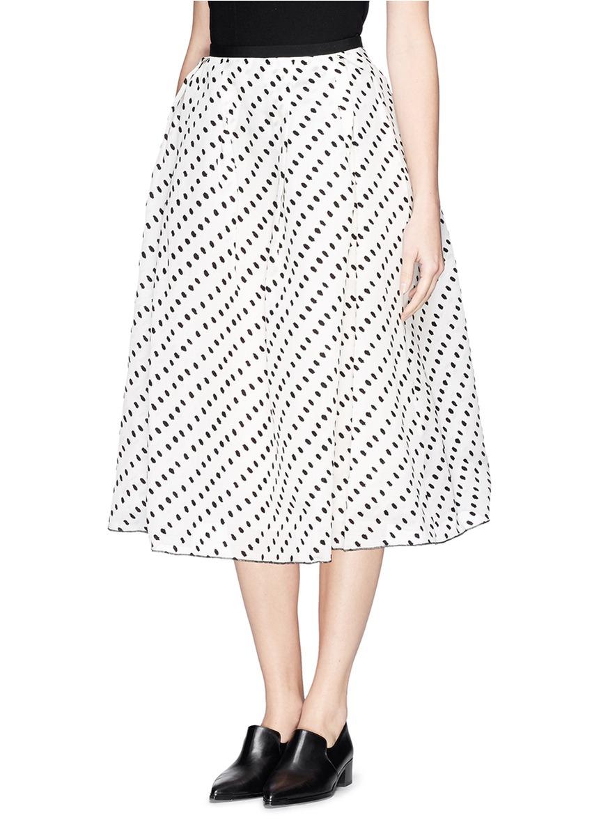erdem imari polka dot pleat midi skirt in white lyst
