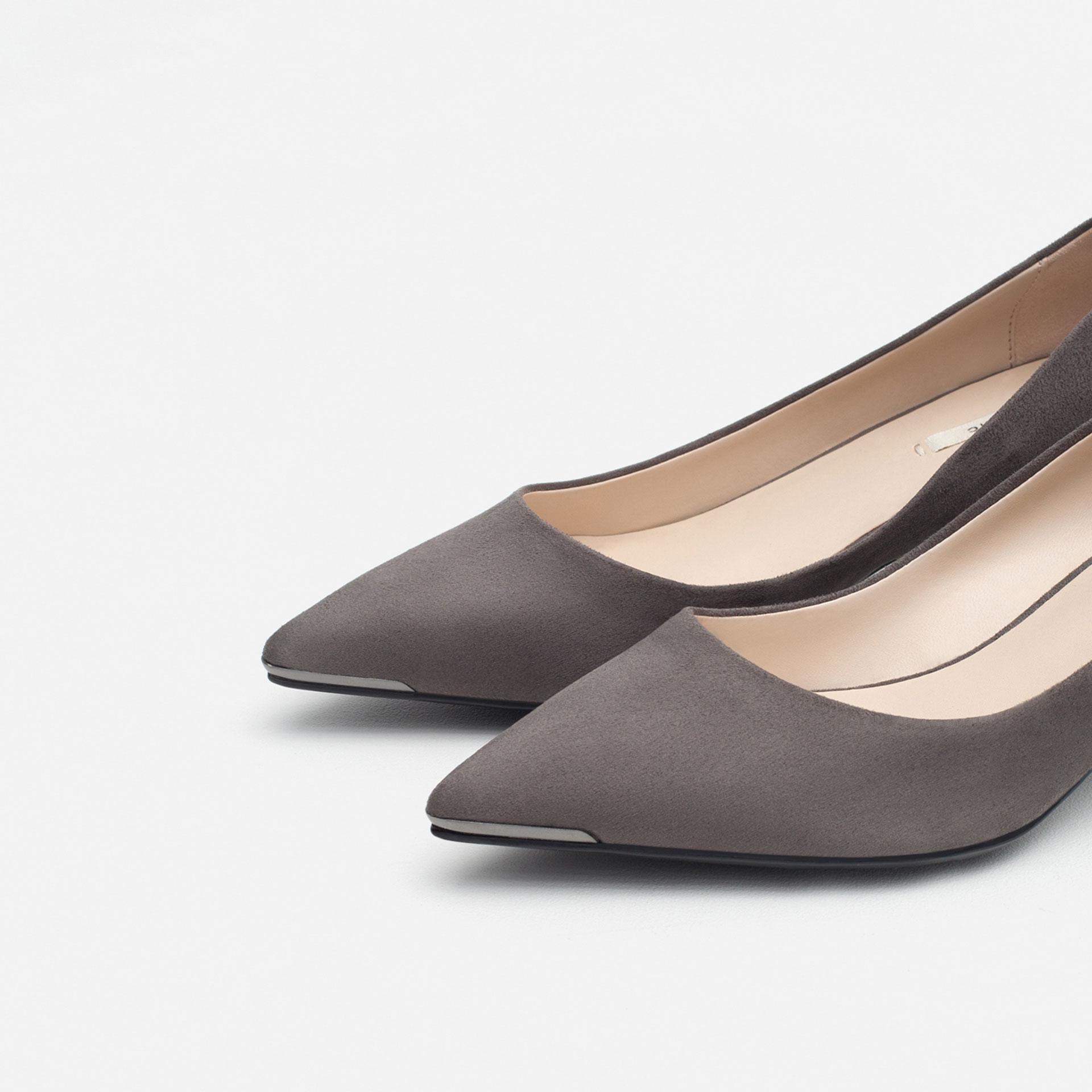 Grey Kitten Heel Shoes - Is Heel