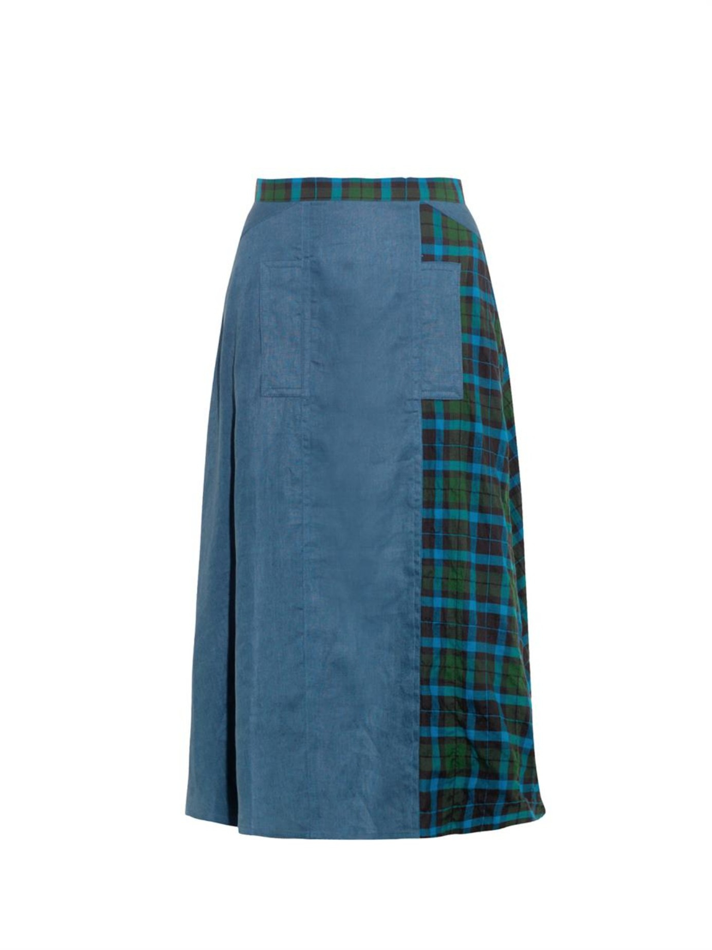 yohji yamamoto regulation tartan panel cotton skirt in