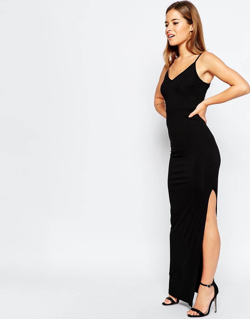 bd551a95ecfd27 ASOS Bodycon Maxi Dress With Strappy Back - Black in Black - Lyst