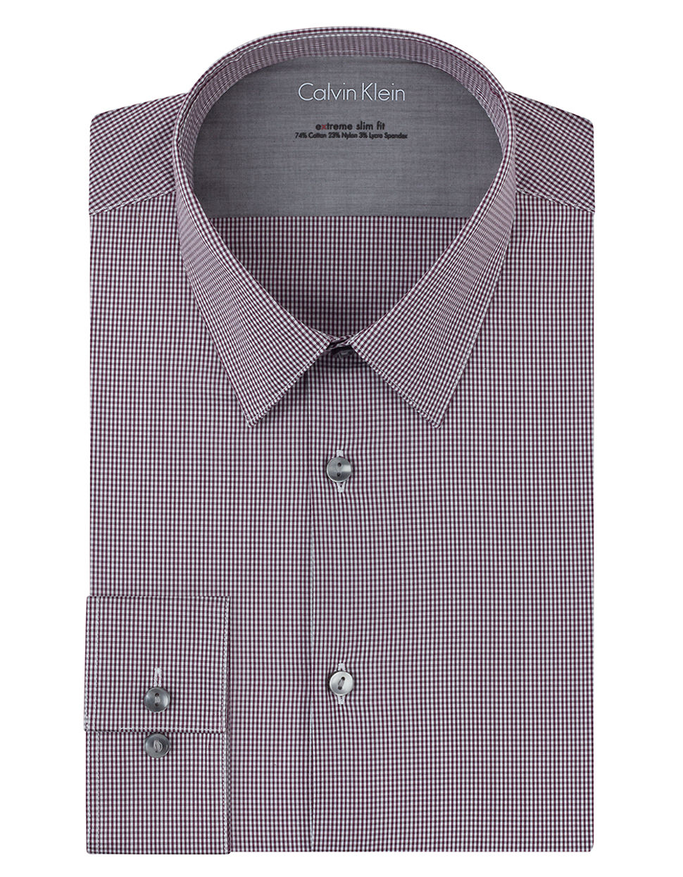 calvin klein extreme slim fit micro check dress shirt in