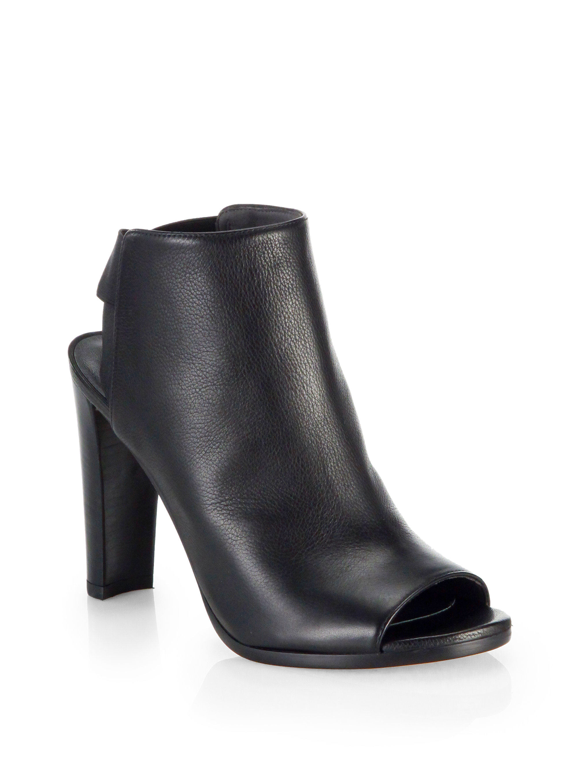 from china cheap price professional online Stuart Weitzman Leather Peep-Toe Ankle Boots sale cheapest price jGkSOS