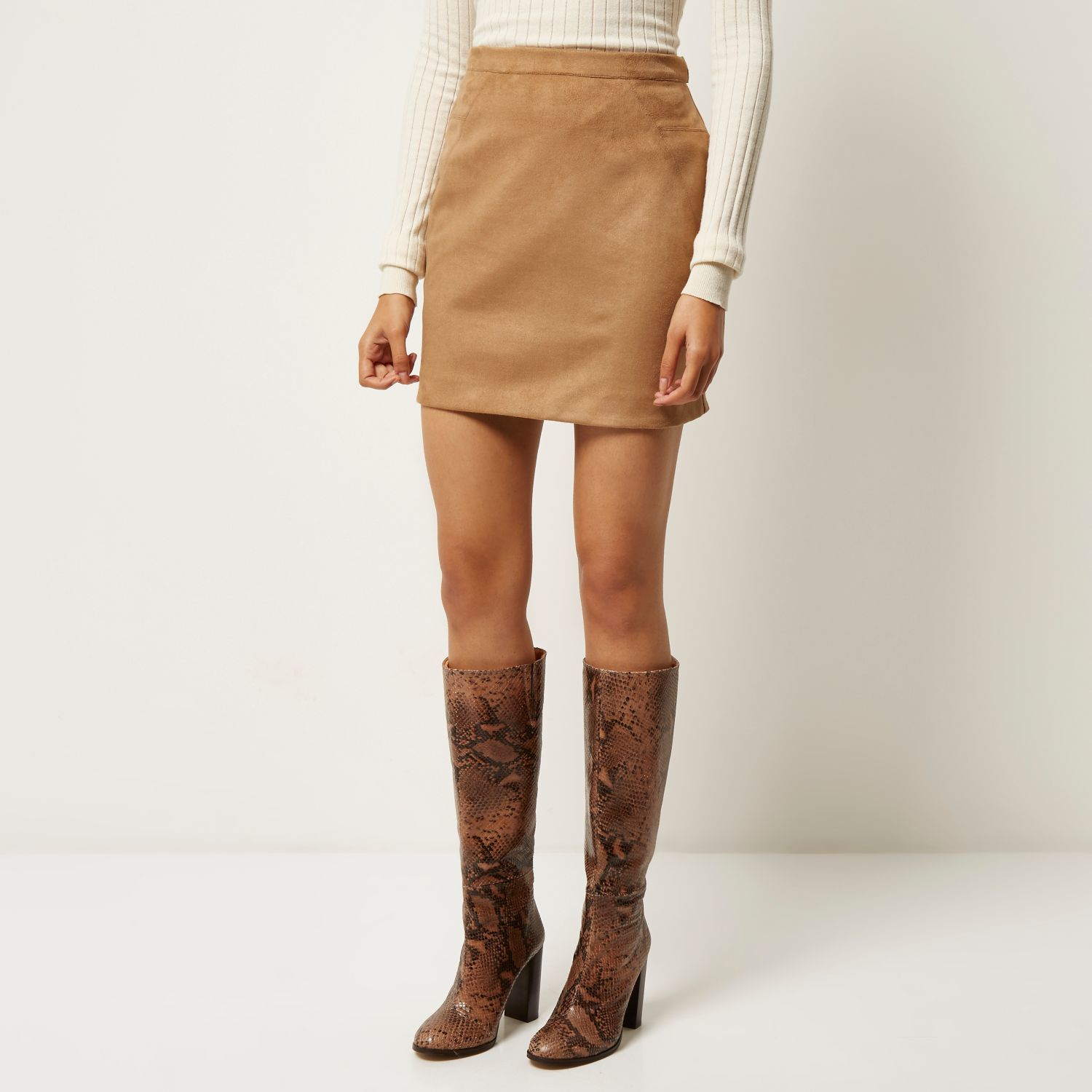 River island Tan Faux Suede Mini Skirt in Brown | Lyst