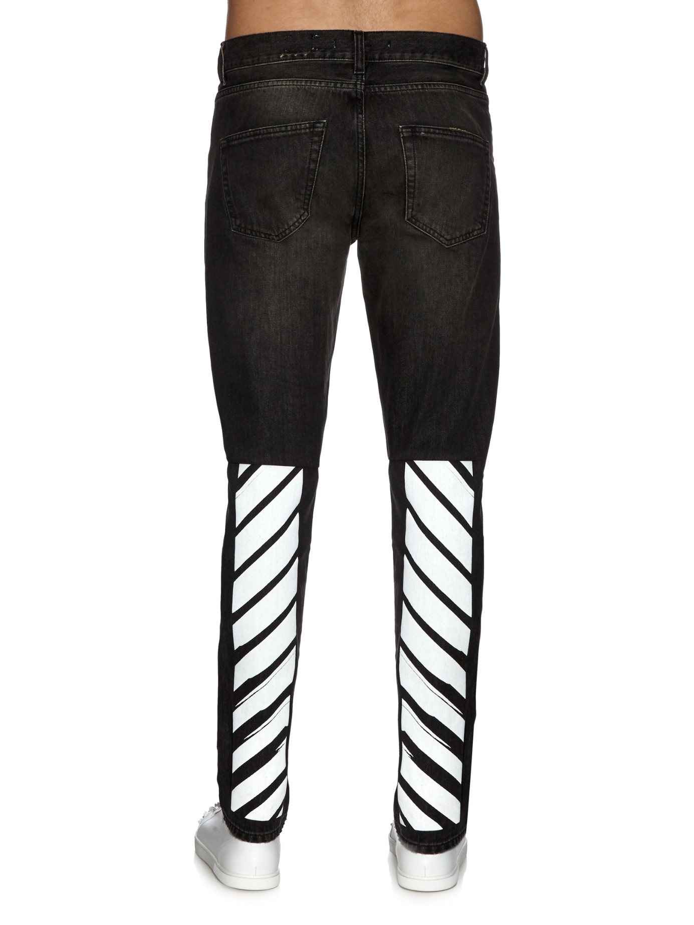 Off-white c/o virgil abloh Distressed Skinny Jeans for Men | Lyst