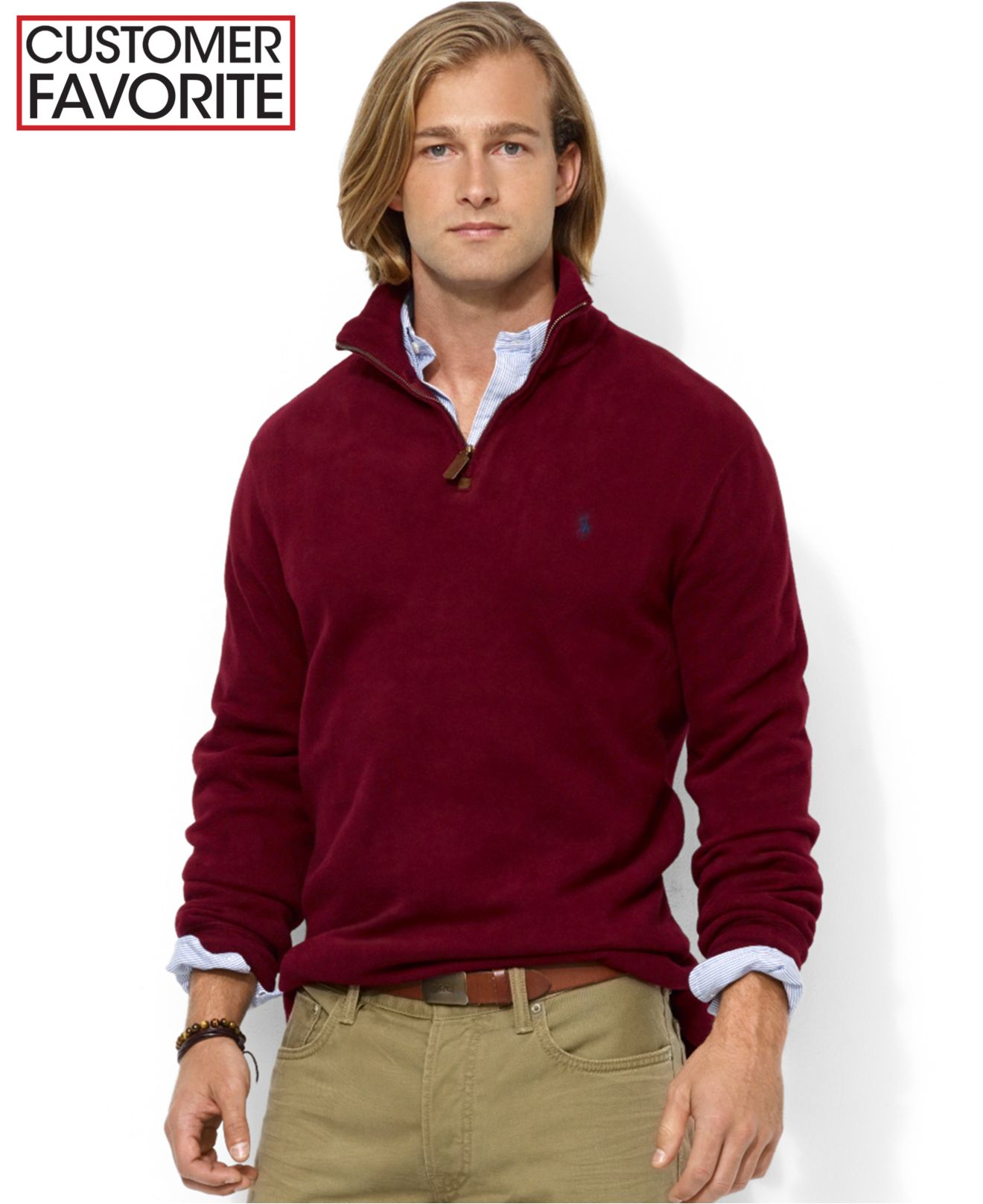 polo ralph lauren french rib half zip pullover sweater in purple for. Black Bedroom Furniture Sets. Home Design Ideas