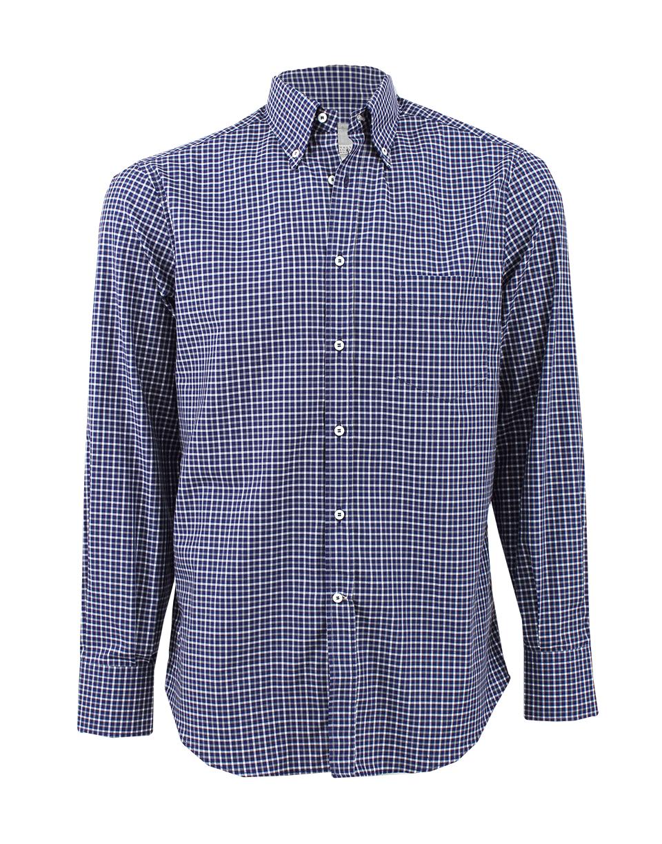 Brunello cucinelli Check Button Down Shirt in Blue for Men | Lyst