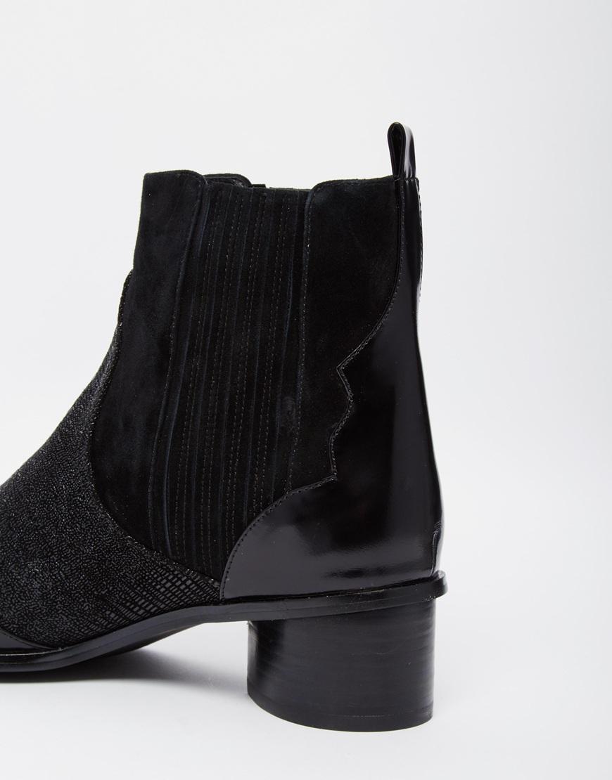 5fbd94b6198 Lyst - Senso Klara Black Textured Kitten Heel Ankle Boots in Black