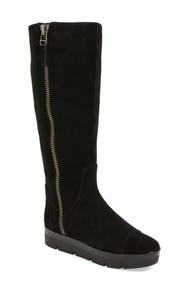 nine west gladys suede knee high boots in black black