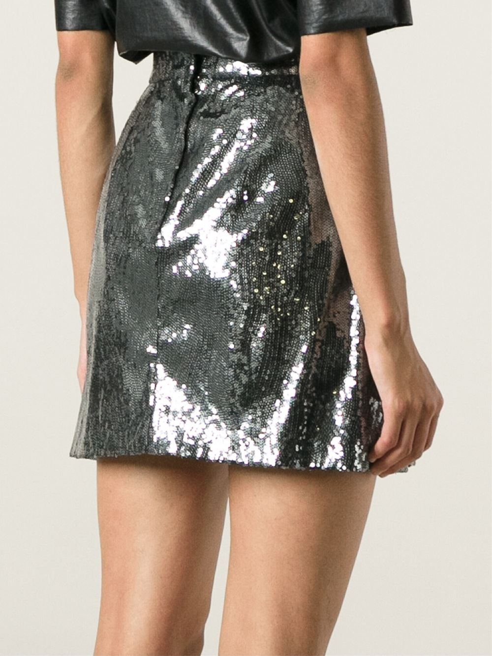 dolce gabbana sequined mini skirt in blue lyst