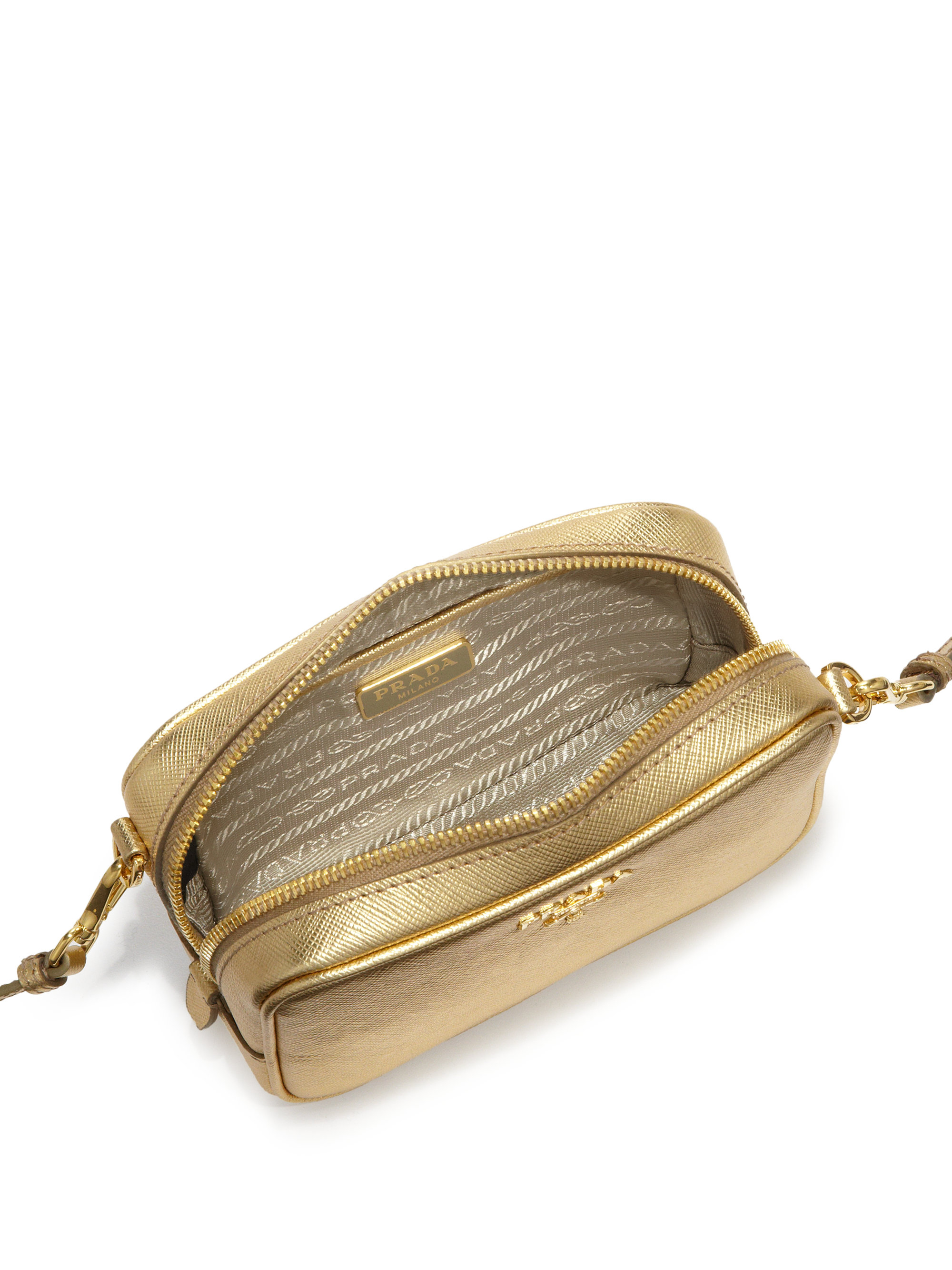 Prada Metallic Saffiano Leather Camera Bag in Gold | Lyst