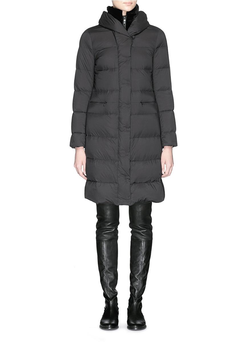 Armani Velvet Trim Long Puffer Down Coat in Black