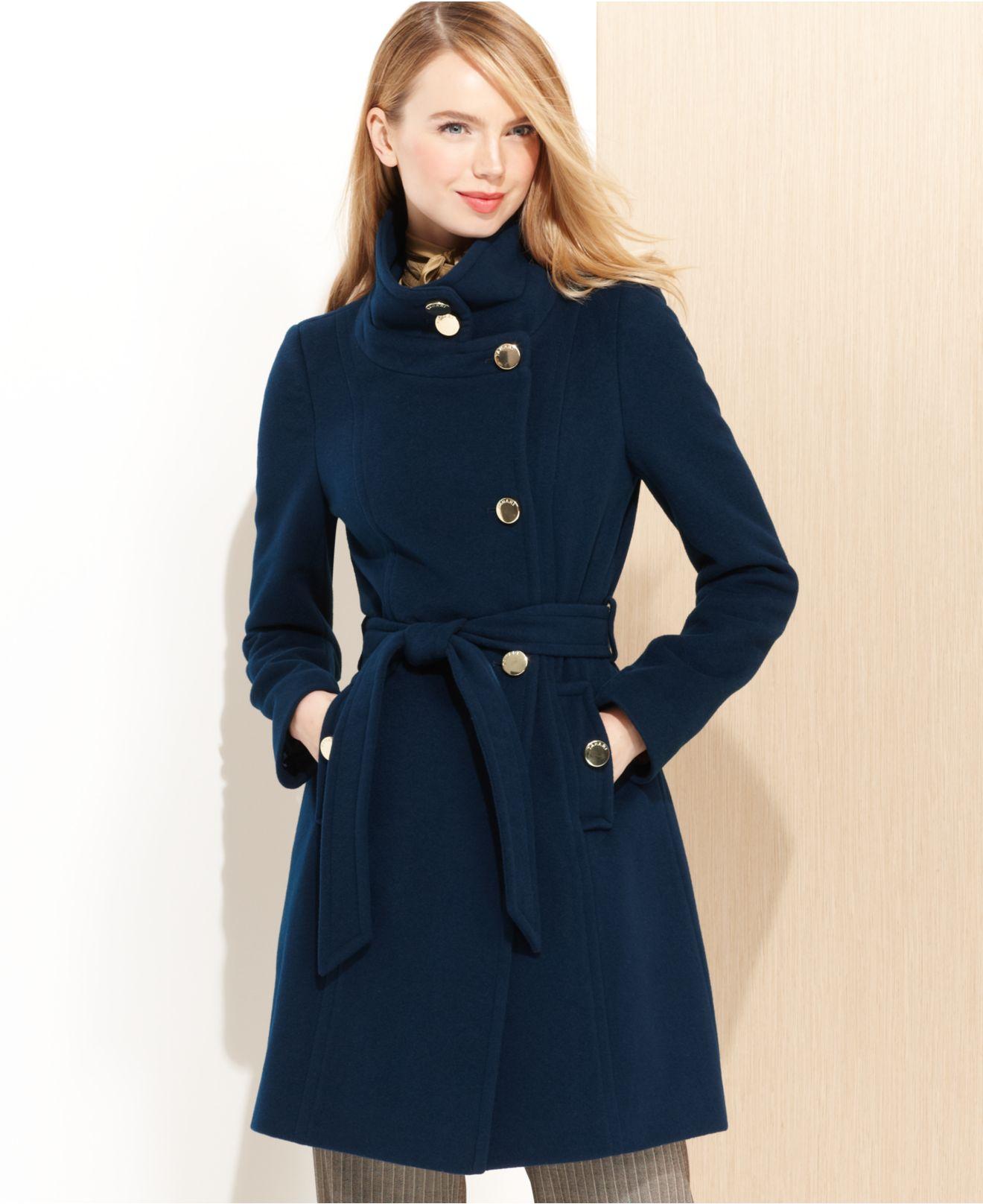 Tahari Izzy Asymmetrical Wool-Blend Coat in Blue | Lyst