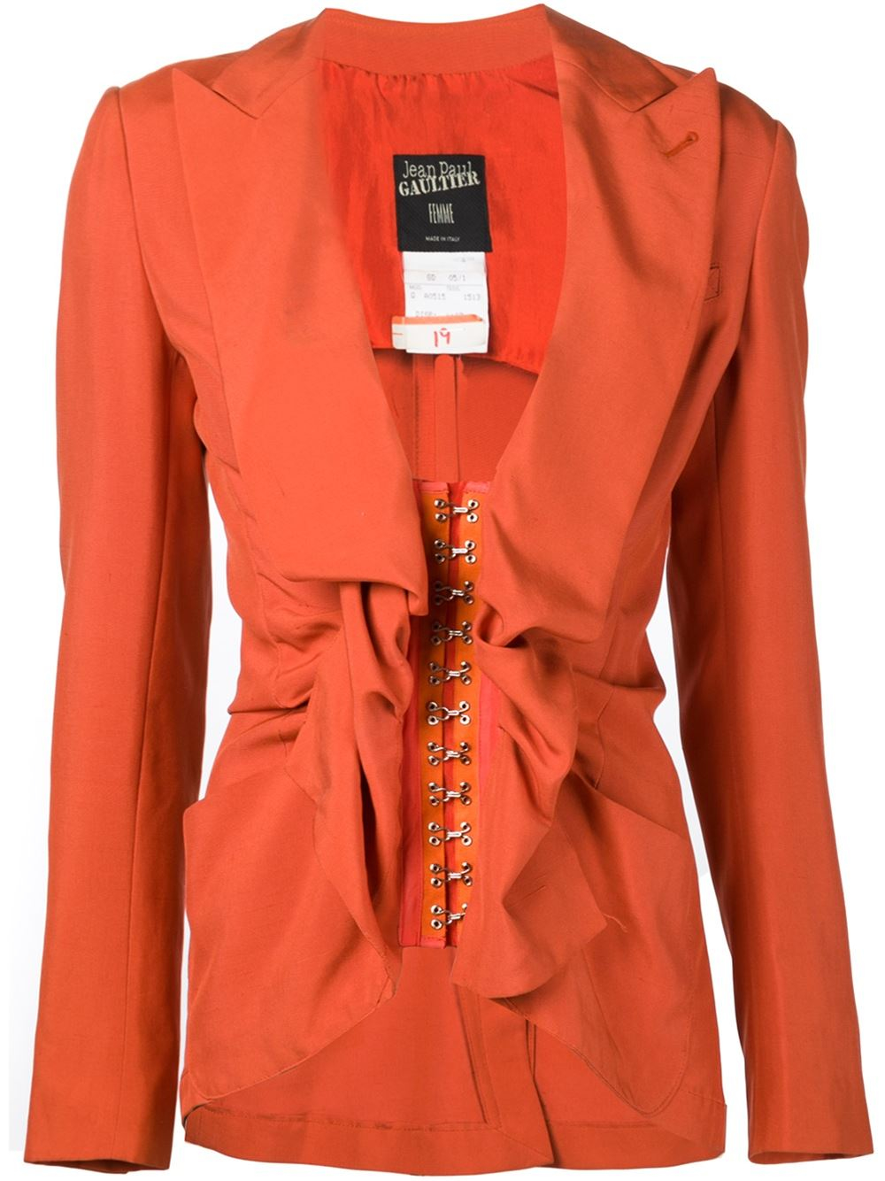 29d1ba2503 Lyst - Jean Paul Gaultier Corset Detail Blazer in Orange