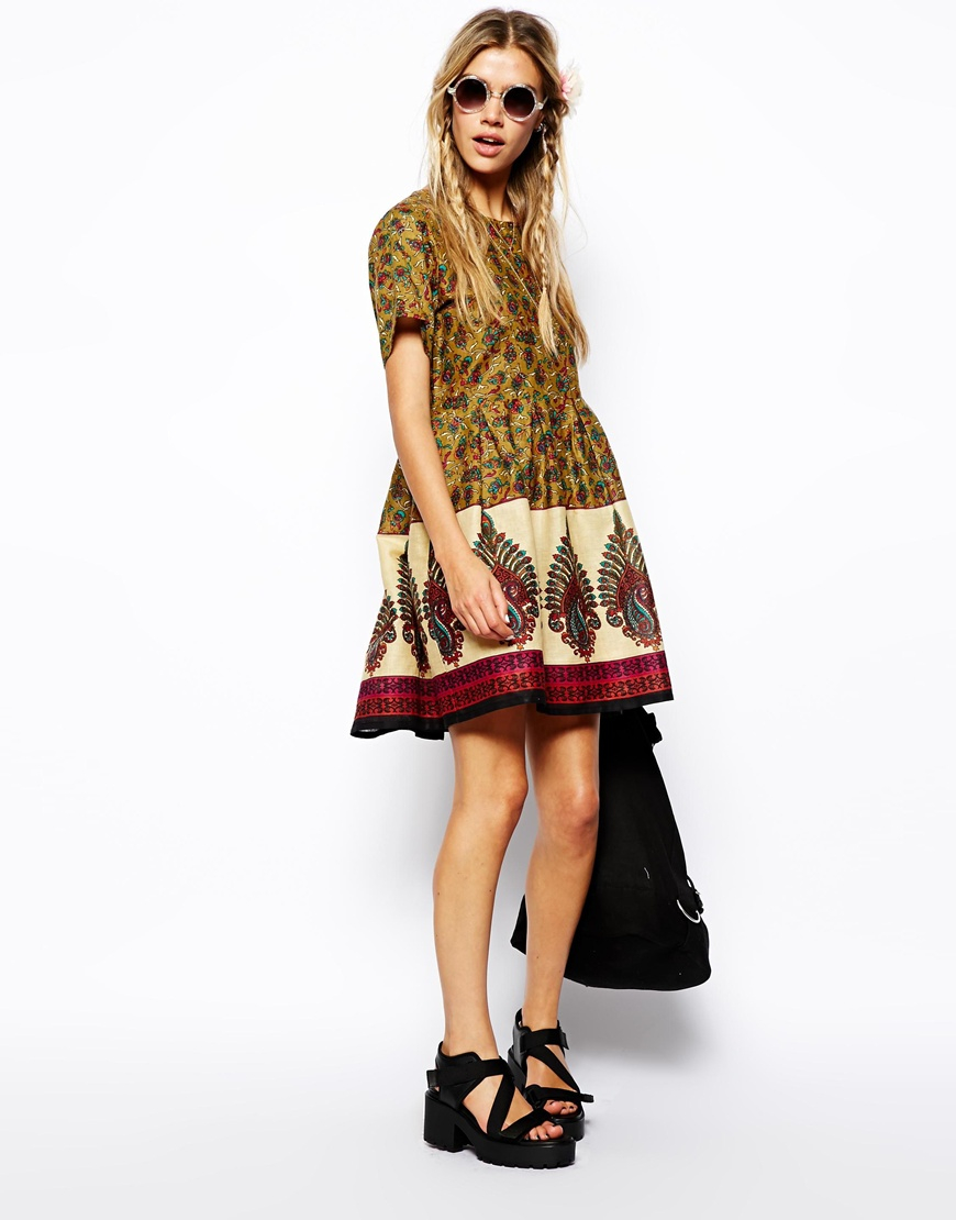 4a5dba66836 Lyst - ASOS Reclaimed Vintage Dress in Indian Summer Print