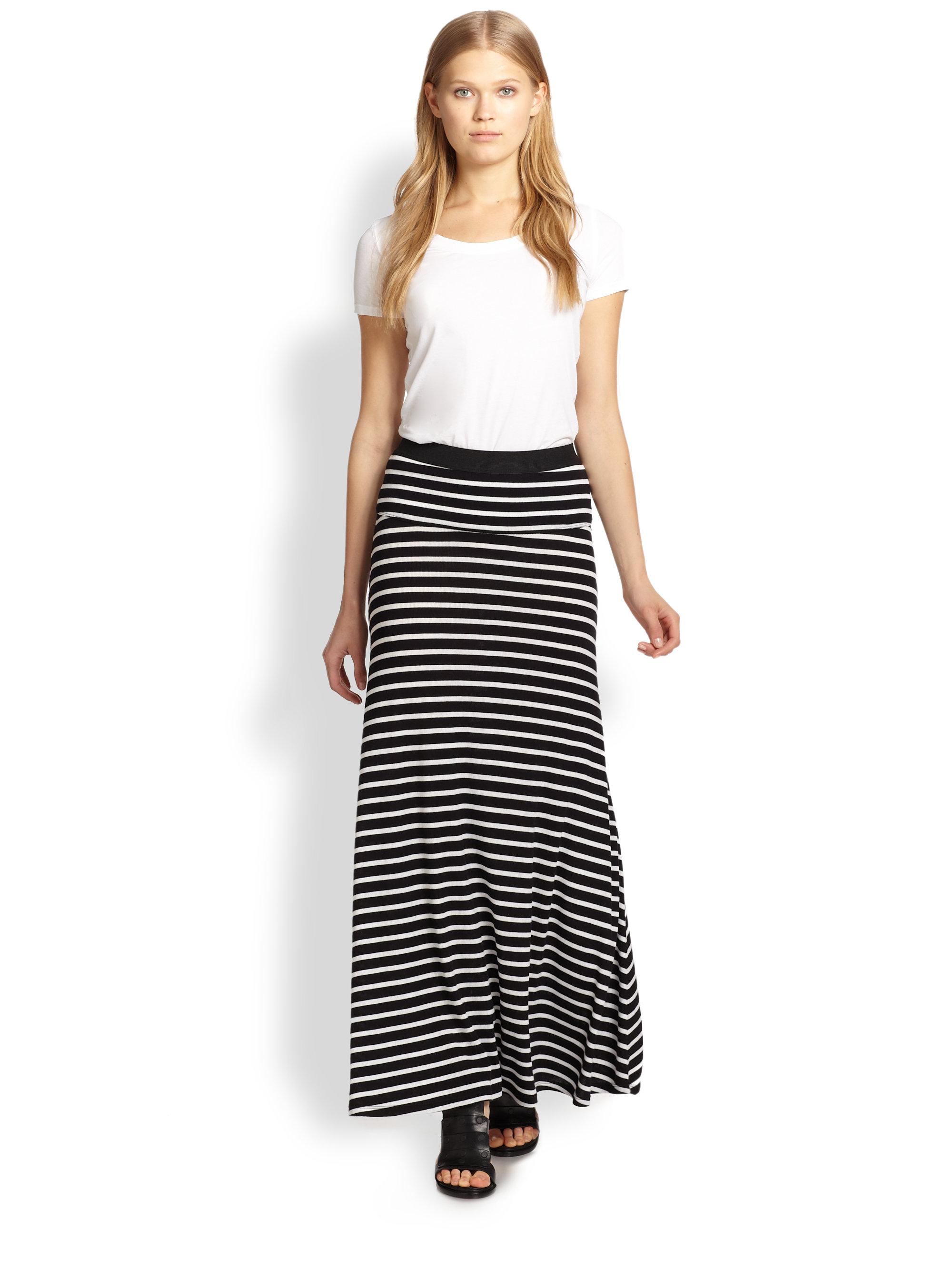 Bcbgmaxazria Karolin Striped Maxi Skirt in Black | Lyst