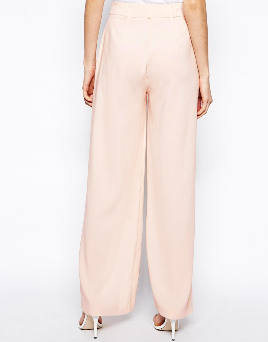 Asos Trousers in Soft Wide Leg in Pink | Lyst