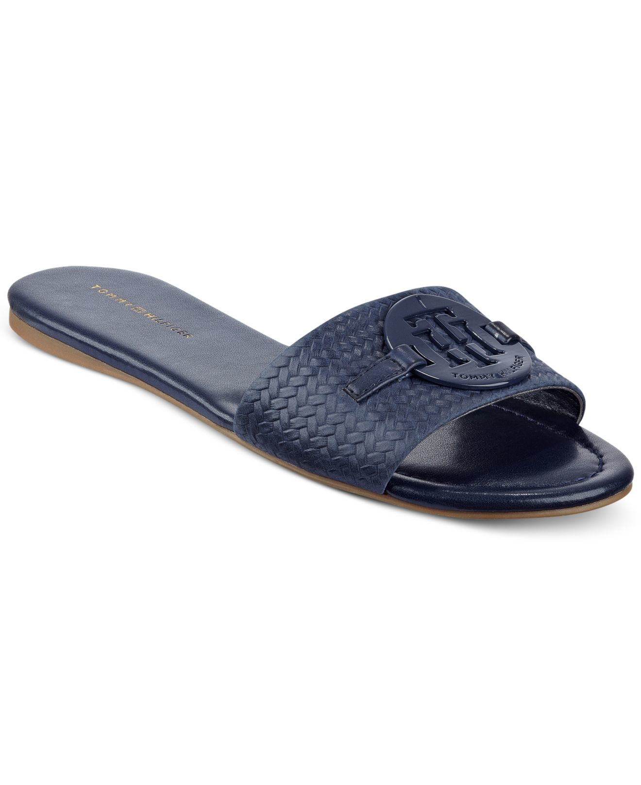 834a44fbbd21d Lyst - Tommy Hilfiger Fabre Logo Slide-on Sandals in Blue