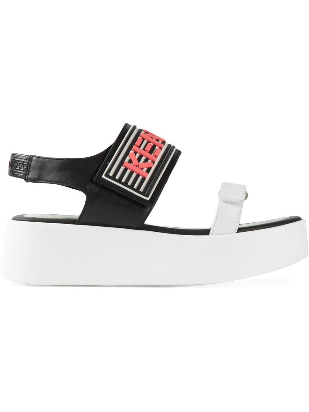 d102ea30 KENZO Platform Sandals in White - Lyst