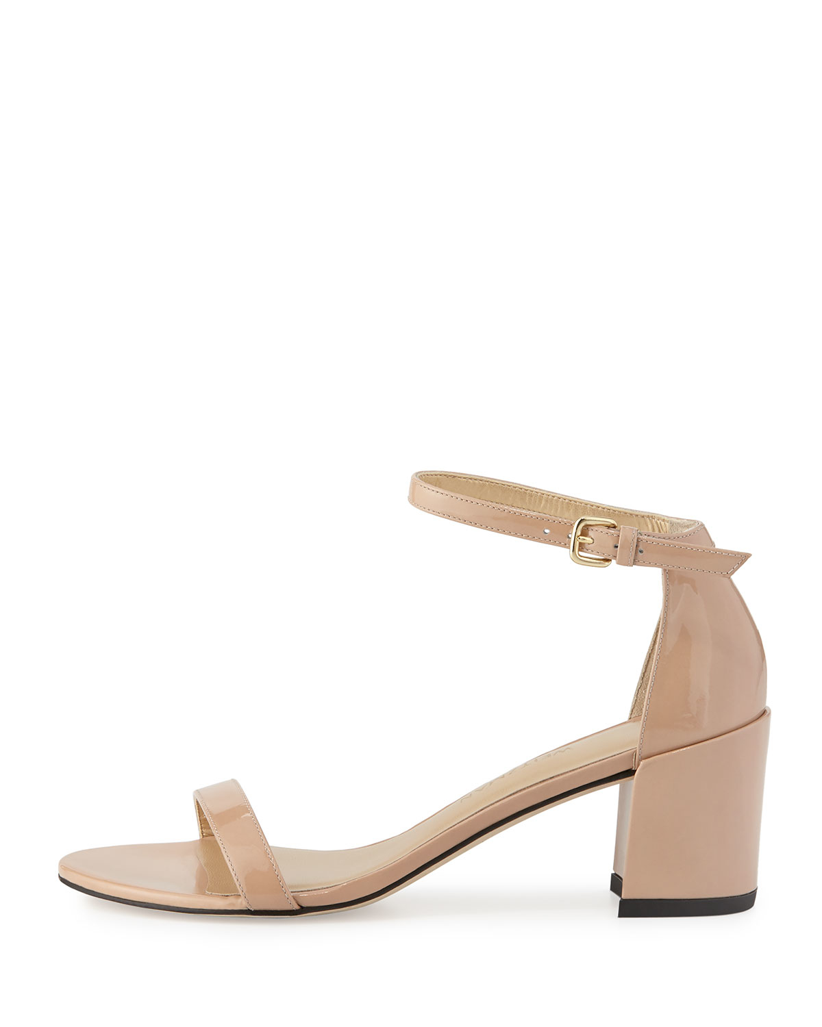 90fa2ae91f45 Lyst - Stuart Weitzman Simple Patent Chunky-heel City Sandal in Natural