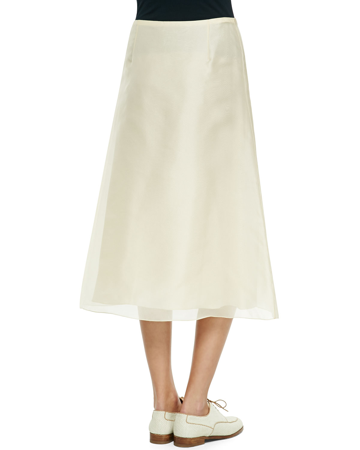 the row flowy chiffon midi skirt in lyst