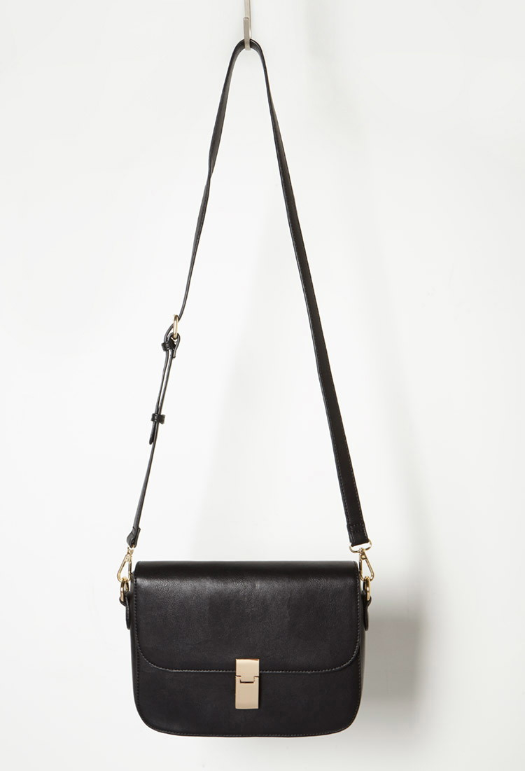 37fc230619 Lyst - Forever 21 Structured Faux Leather Crossbody in Black