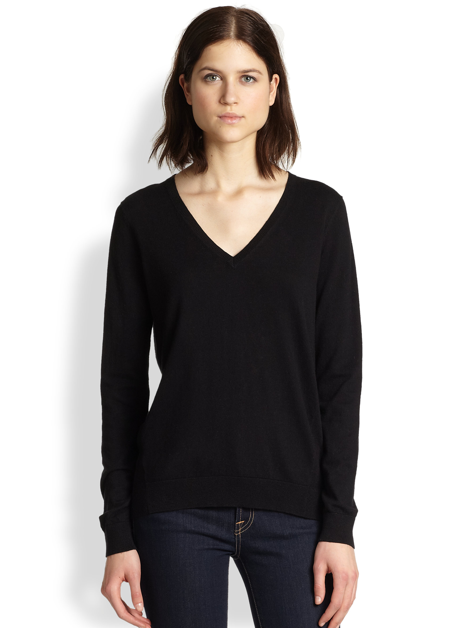 Theory Toberlyn V Neck Sweater In Black Lyst