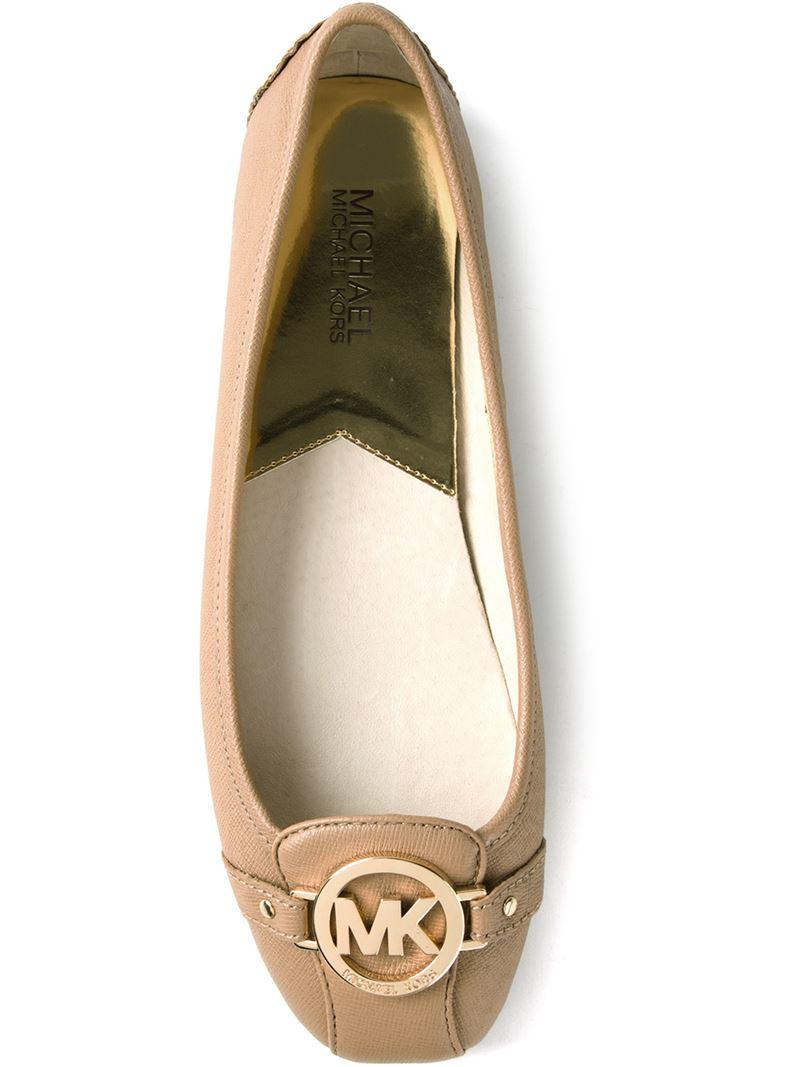 lyst michael michael kors logo ballerina in brown. Black Bedroom Furniture Sets. Home Design Ideas