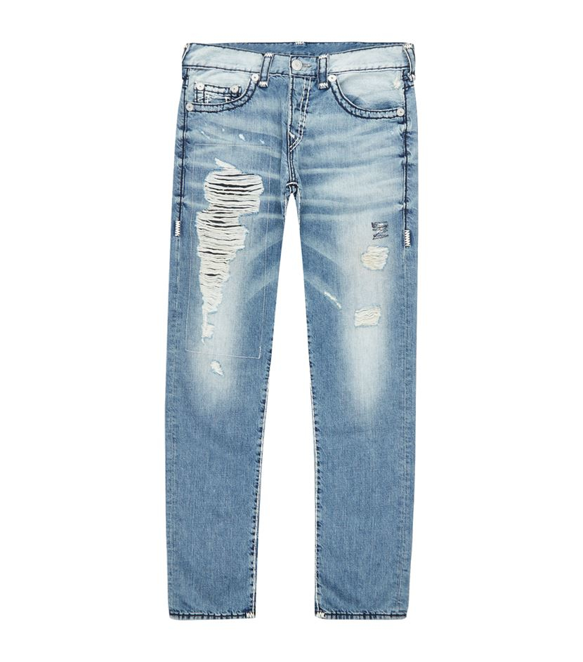 true religion rocco ripped skinny jeans in blue for men lyst. Black Bedroom Furniture Sets. Home Design Ideas