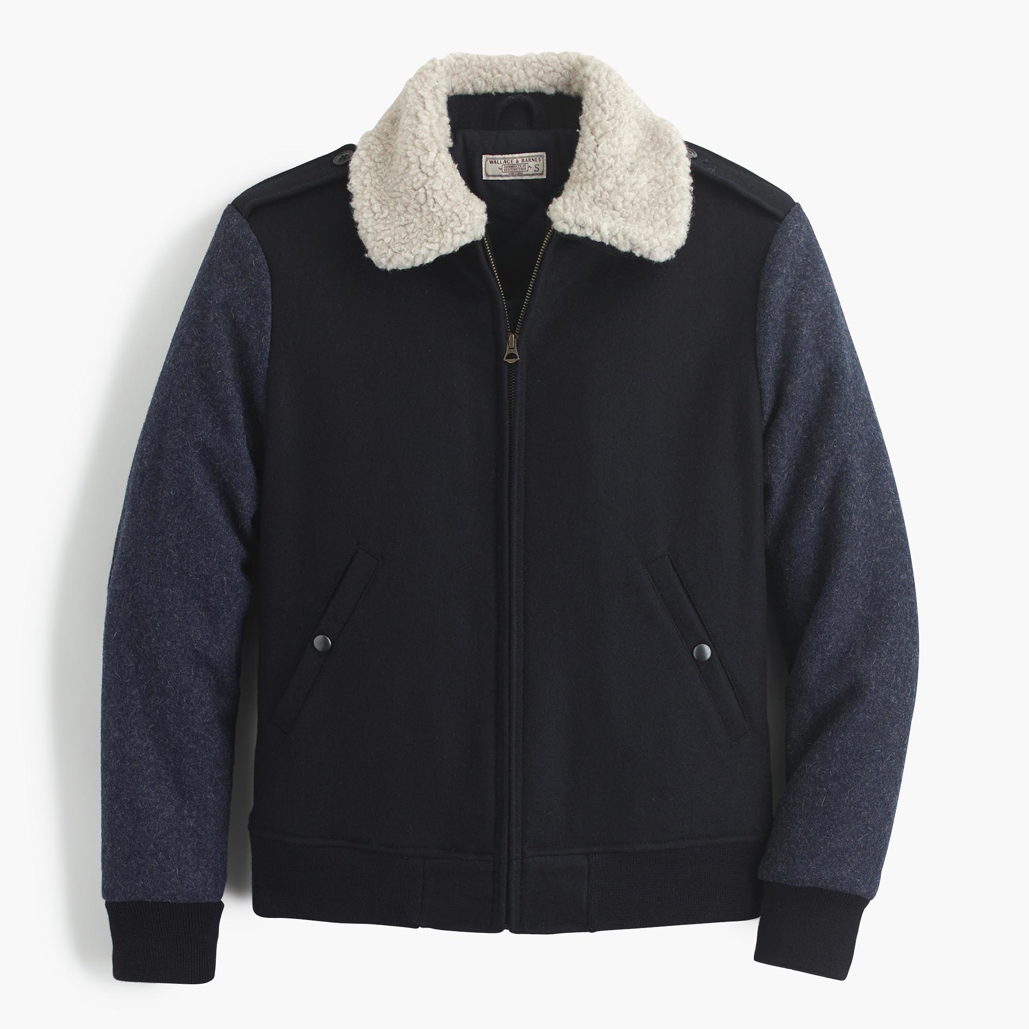 J Crew Wallace Amp Barnes Sherpa Collar Contrast Wool Bomber