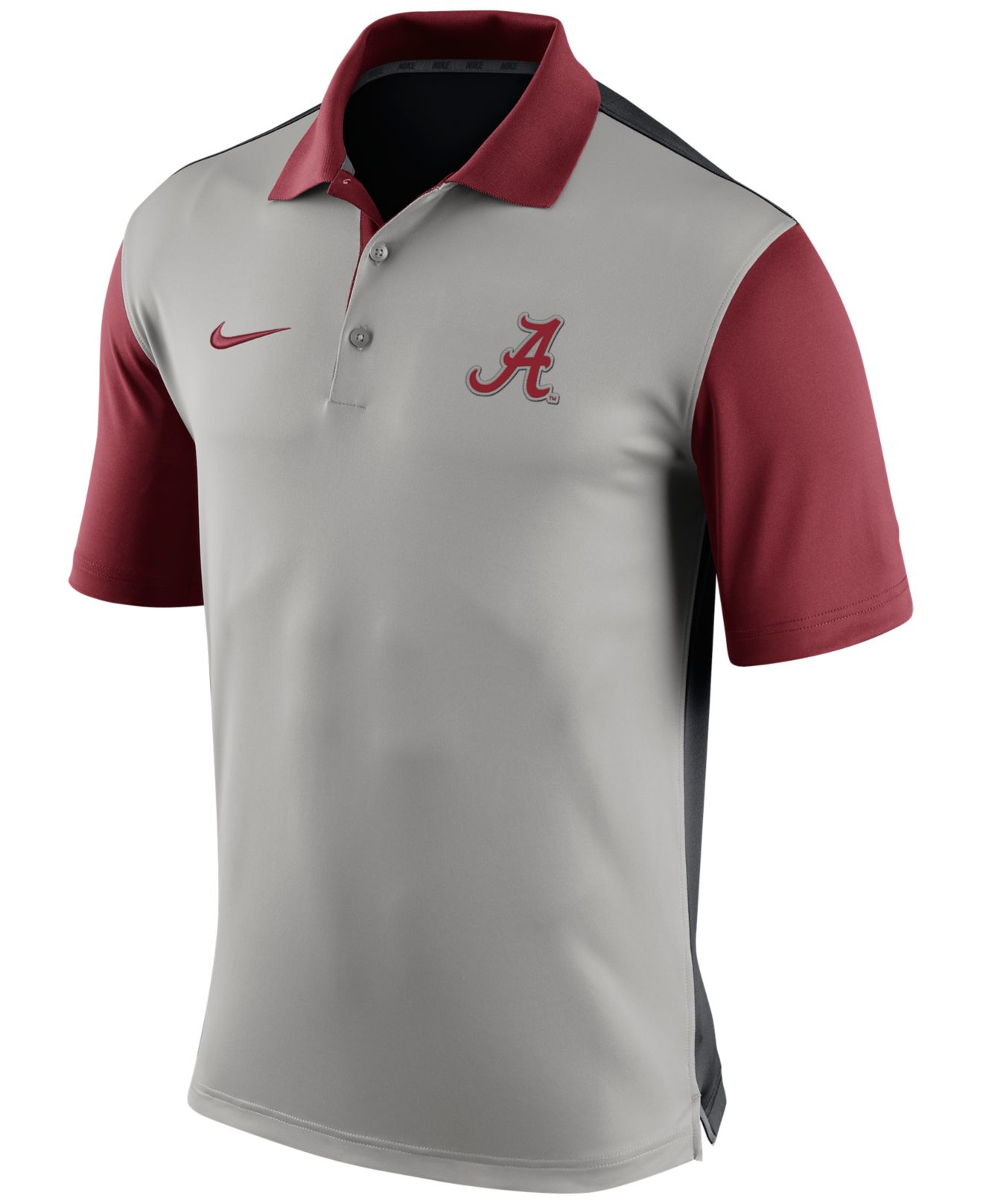Nike men 39 s alabama crimson tide preseason polo in gray for for Alabama crimson tide polo shirts