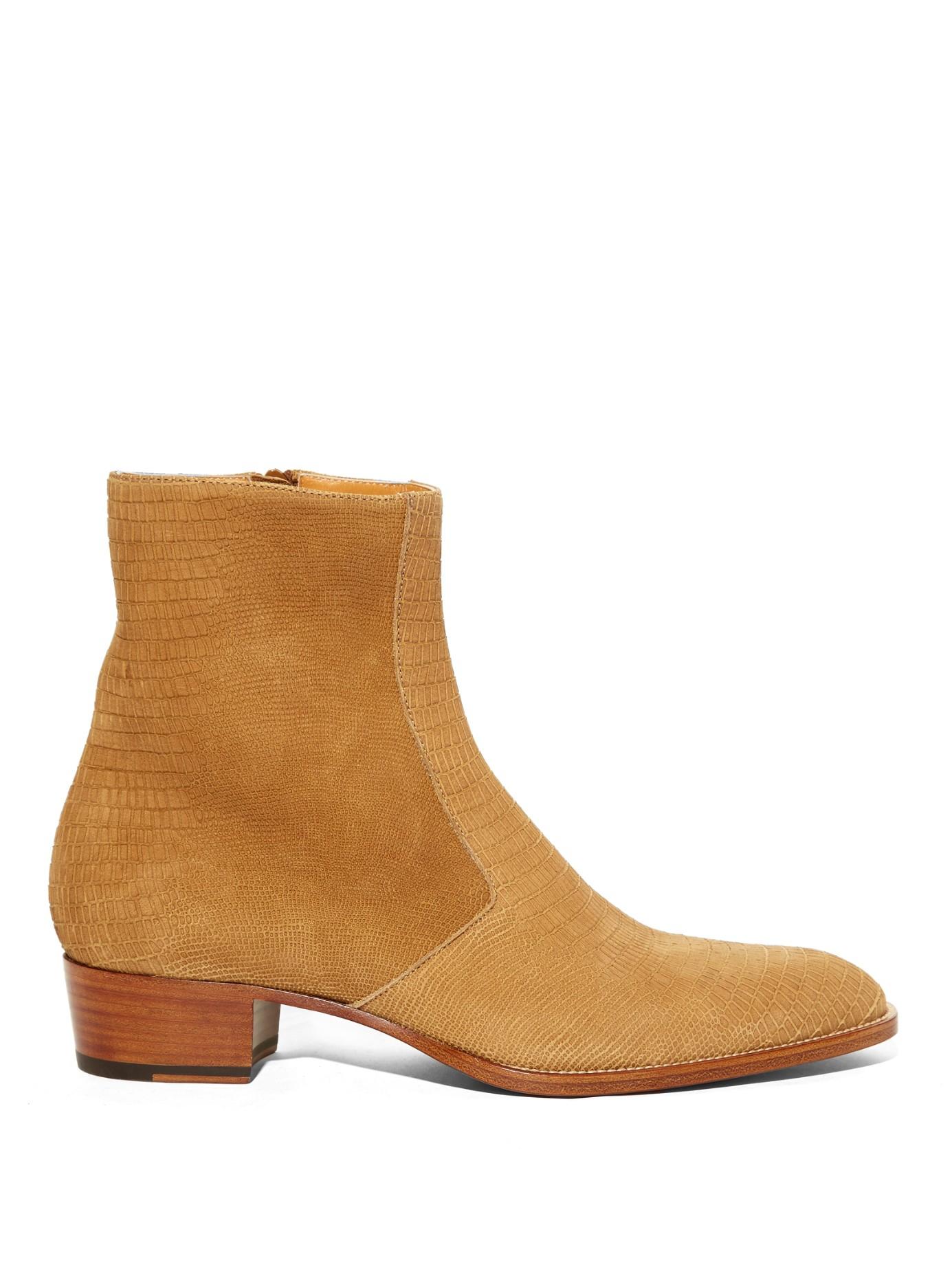 61f4dcd2ce5 Saint Laurent Lizard-Effect Suede Chelsea Boots in Brown for Men - Lyst