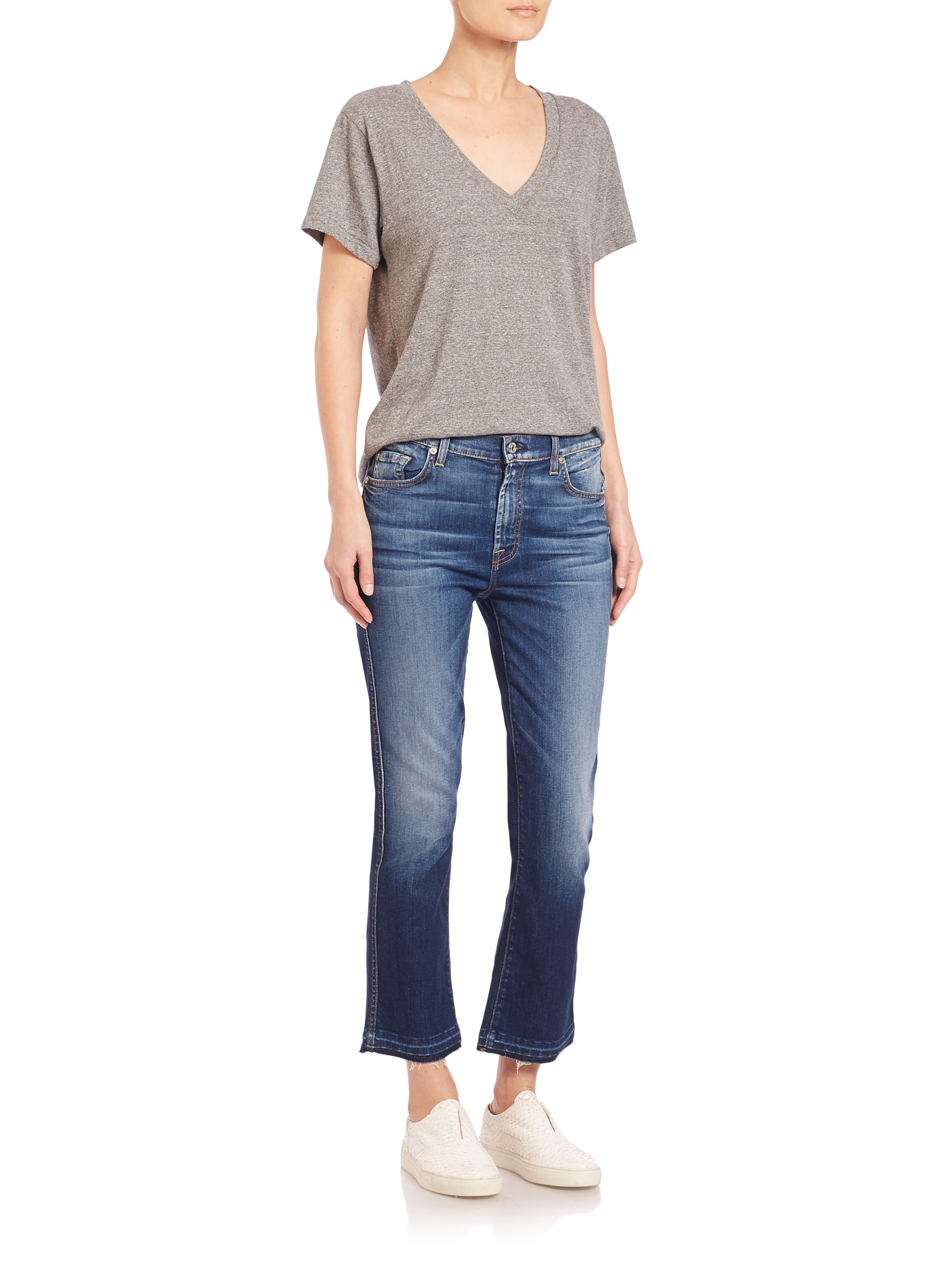 7 for all mankind Cropped Boot Jeans With Released Hem in Blue | Lyst