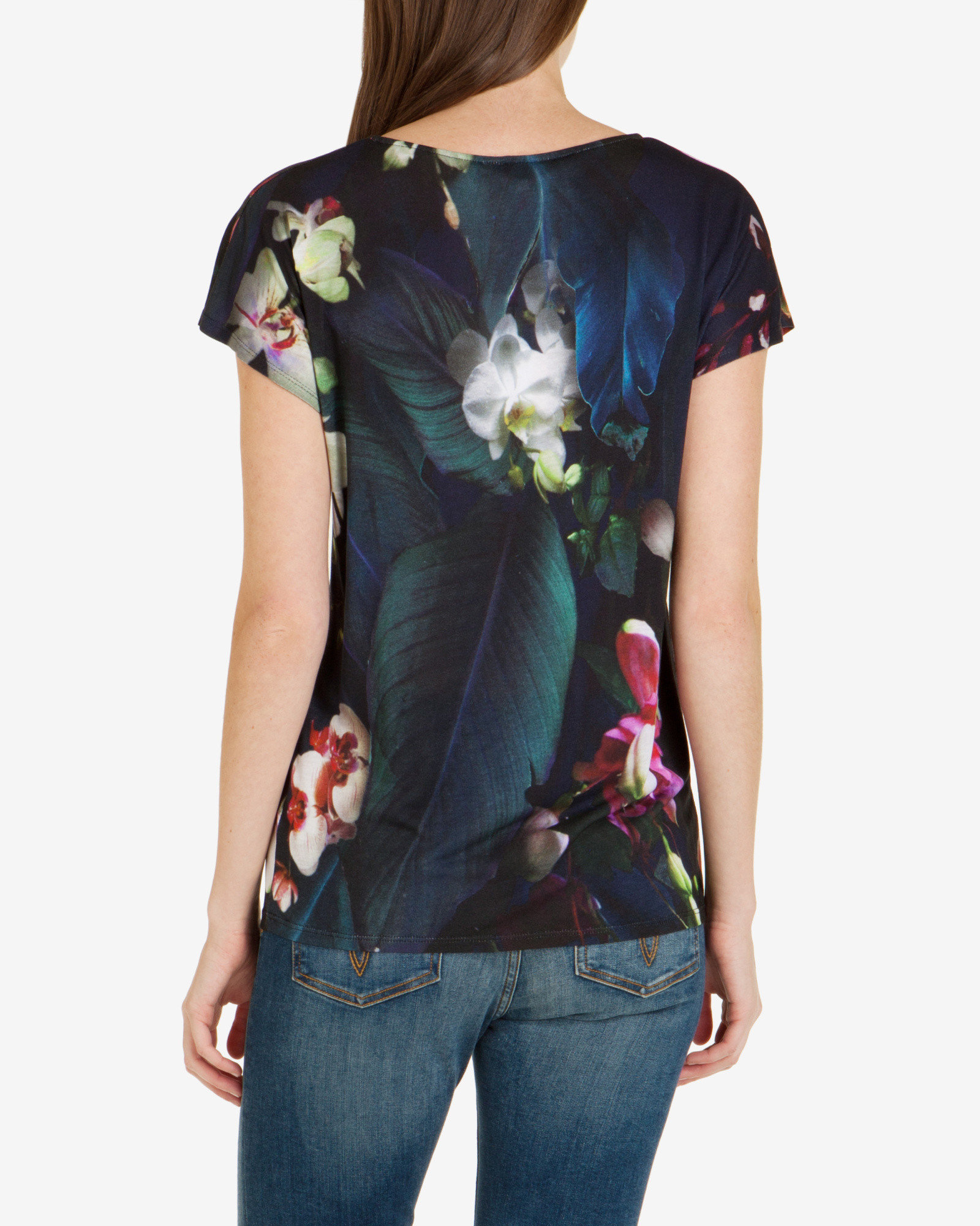 Ted baker fuchsia floral t shirt in blue lyst for Ted baker blue shirt