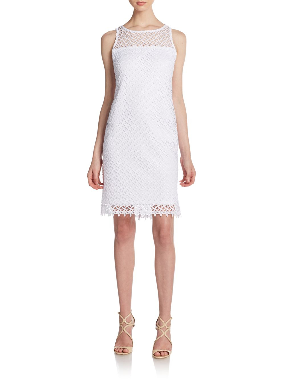 Lyst Marina Open Lace A Line Dress In White