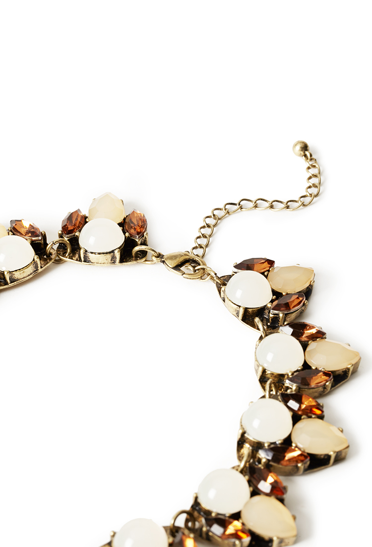 forever 21 faux gemstone necklace in lyst