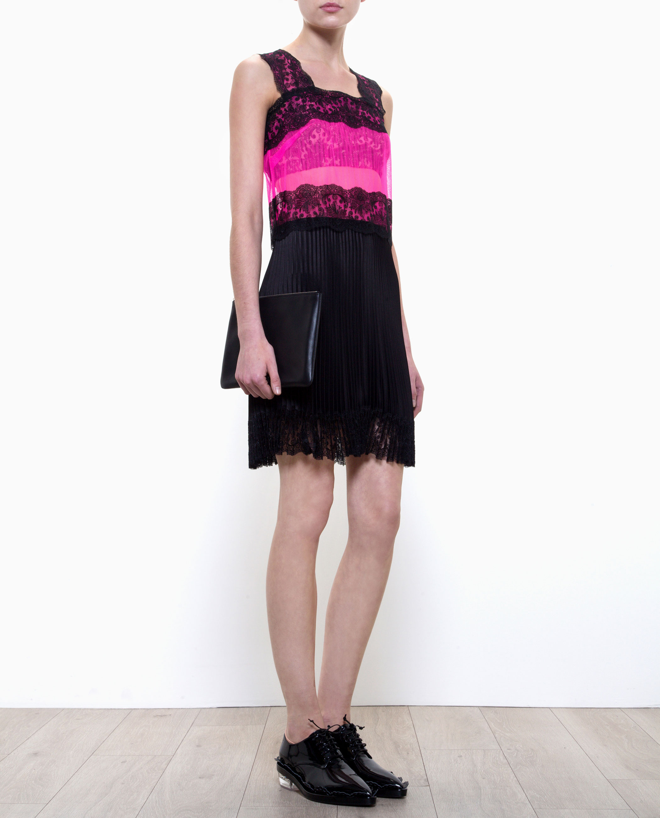 christopher lace dress with pleated skirt in purple