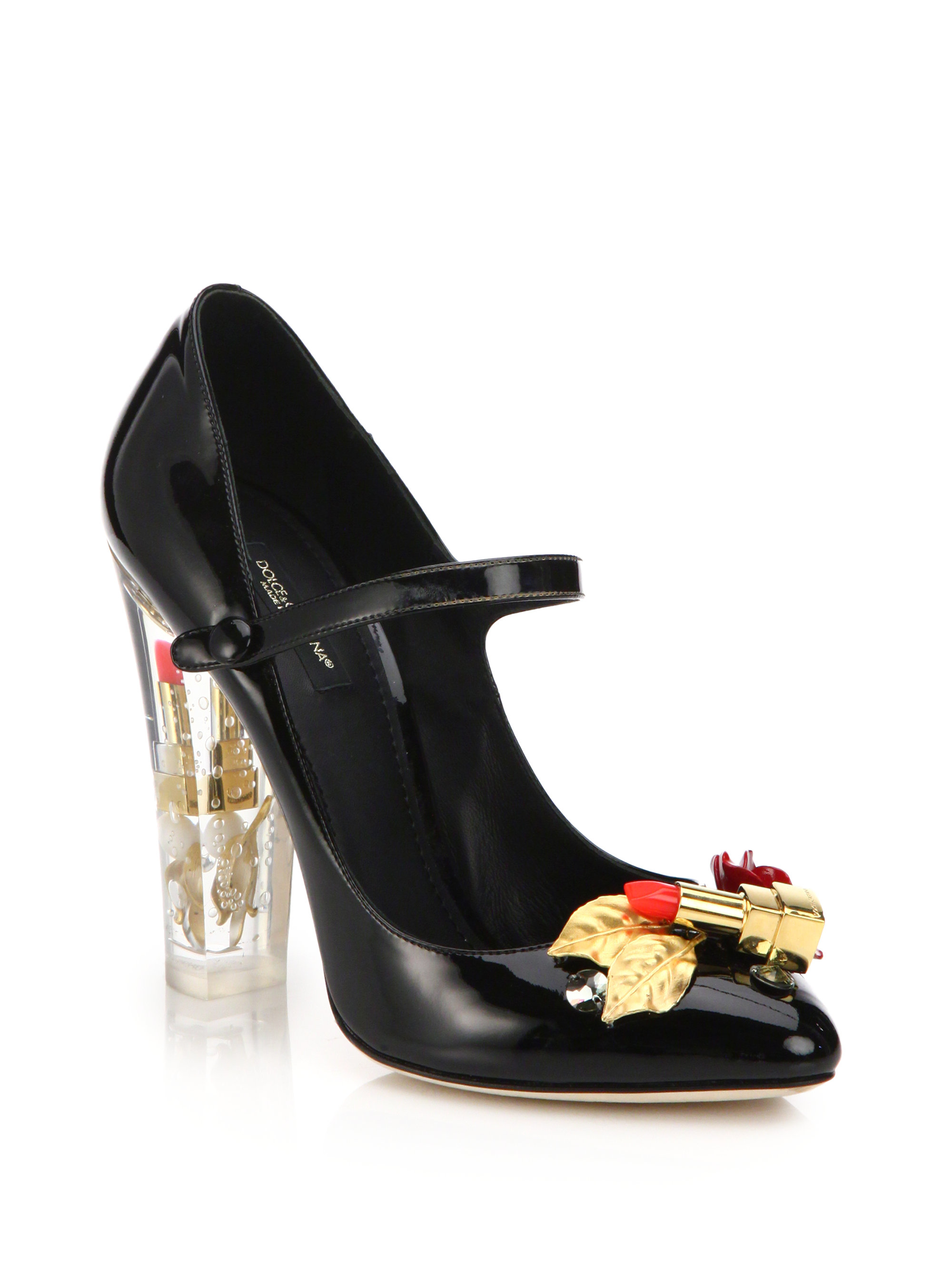 2cc2226206f3 Lyst - Dolce   Gabbana Lipstick-heel Patent Leather Mary Jane Pumps ...