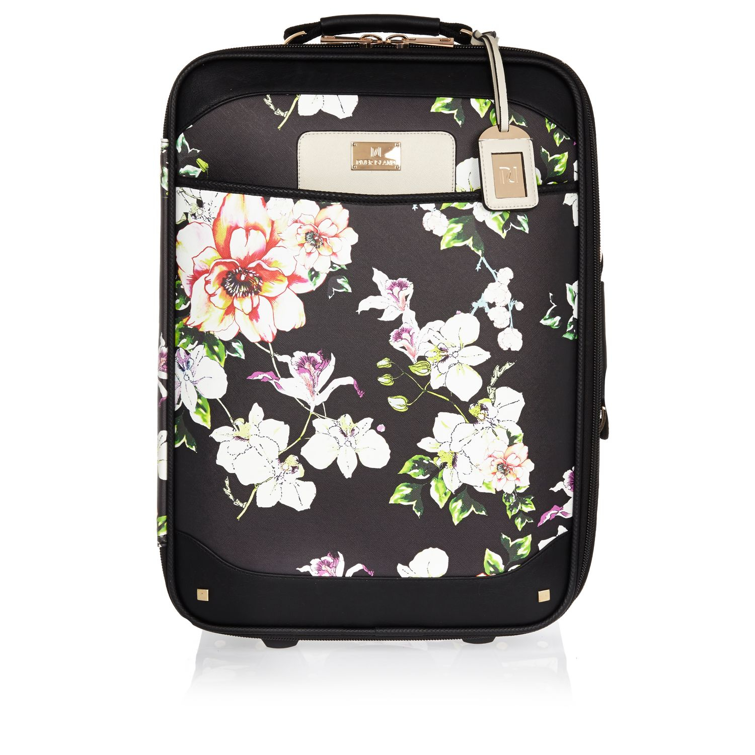 River Island Black Floral Print Wheelie Suitcase In Black
