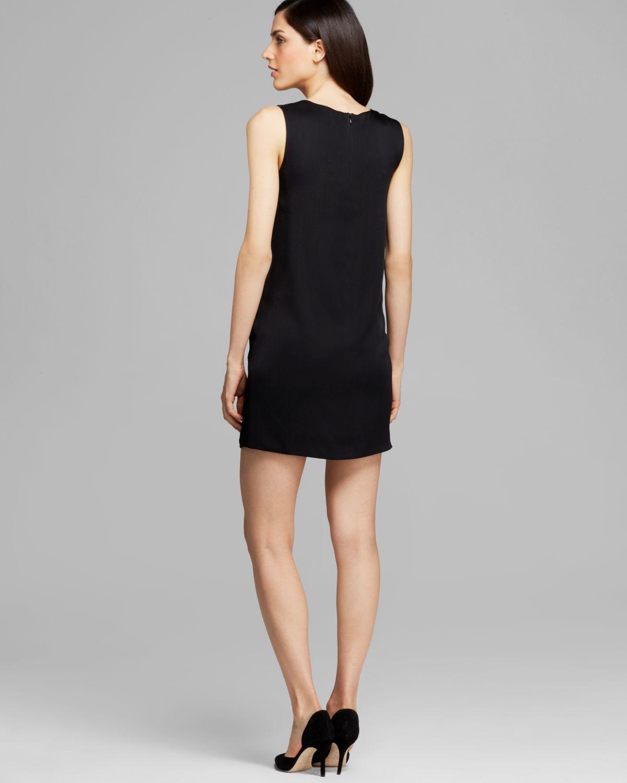 Vince black leather mini dress