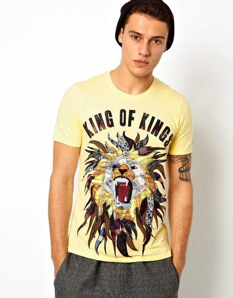 Elvis jesus tshirt king in yellow for men lyst for Elvis jesus t shirt