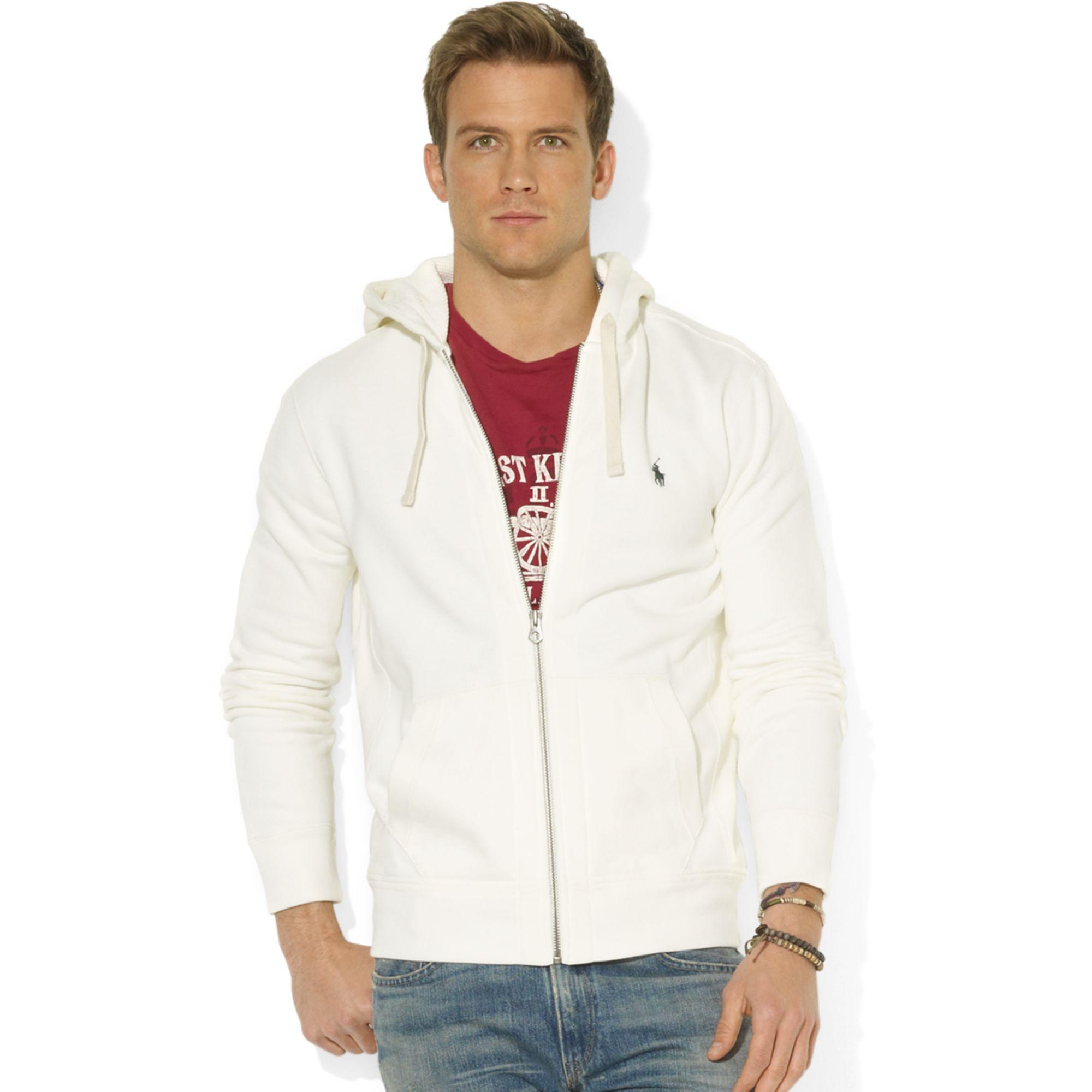 1aa036af6 Ralph Lauren Classic Zipfront Fleece Hoodie in White for Men - Lyst